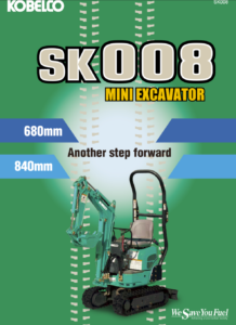 Kobelco SK008 Brochure Front - Mini Excavator Digger no licence needed